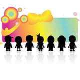 Silhouettes children Stock Image