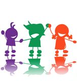 Silhouettes of children. Hand drawn children silhouettes in colors Stock Photography