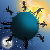 Silhouettes of children Royalty Free Stock Image