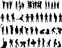 Silhouettes of children Stock Images