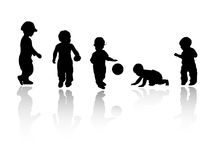Silhouettes - children. Black children's silhouettes on white background Stock Photos