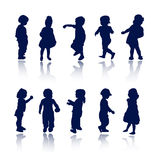Silhouettes - children. Silhouette girls and boys , vector illustration Stock Photography