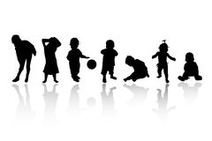 Silhouettes - children. Black children's silhouettes on white background Stock Photography