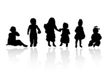 Silhouettes - children. Vector silhouette girls and boys, illustration Stock Photo