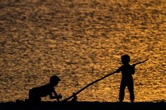 Silhouettes of children on the beach. With golden water in the background Stock Images