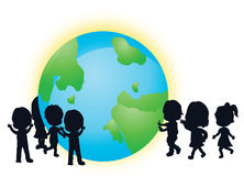 Silhouettes children and earth. For the purpose of poster, world earth day and others Stock Image