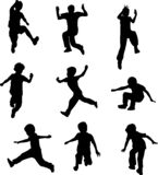 Silhouettes of children jumping