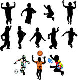Silhouettes of children in movement Royalty Free Stock Image