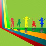Silhouettes of children playing Royalty Free Stock Photography