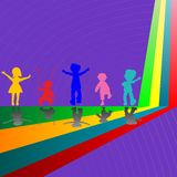 Silhouettes of children playing on purple Royalty Free Stock Images