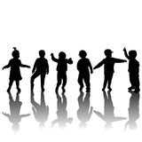 Silhouettes of children and shadows Royalty Free Stock Photography