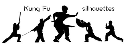 Silhouettes of children showing Kung Fu stock image