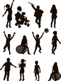 Silhouettes of children Royalty Free Stock Photo