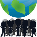Silhouettes children and the world Royalty Free Stock Photo