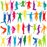 Silhouettes of children and young people jumping Stock Image