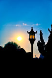 Silhouettes of chinese Lantern. A shot of a chinese lantern over a sunset Royalty Free Stock Photo