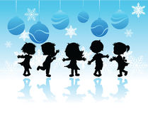 Silhouettes christmas children Stock Image