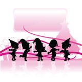 Silhouettes christmas children Royalty Free Stock Photo