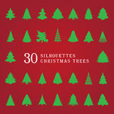 30 silhouettes of Christmas trees. Illustration Stock Photos