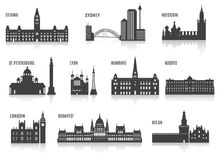 Silhouettes of cities Stock Images