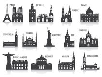 Silhouettes of cities Stock Photos