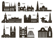 Silhouettes of cities stock illustration