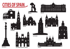Silhouettes of cities in Spain vector illustration