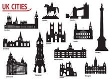 Silhouettes of cities in the UK Royalty Free Stock Photography