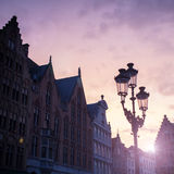 Silhouettes of city center houses in Bruges Royalty Free Stock Photography