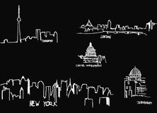 Silhouettes of the city`s stock photography