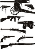 Silhouettes of classic firearms Stock Photo