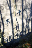 Silhouettes of climbers in Bubnyshche Royalty Free Stock Photography