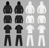 Silhouettes clothes black and white colors. Hoodie, t-shirt and Long sleeve, pants Royalty Free Stock Images