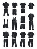 Silhouettes of clothes for boys Royalty Free Stock Images