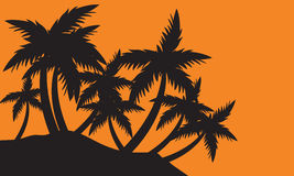 Silhouettes clump of palm tree Royalty Free Stock Photos