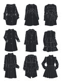 Silhouettes of coats for little girls Royalty Free Stock Photo