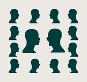 Silhouettes collection of a man's head Stock Photo