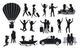 Silhouettes collection of men and woman, couples traveling with suitcases, on hot air balloon ride, sing, dance, in the park on a. Bench, at picnic, on a Royalty Free Stock Image