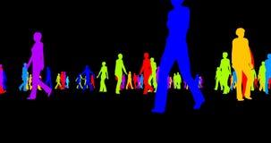 Silhouettes colorées d'une foule des personnes sur un noir illustration de vecteur