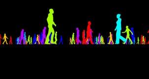 Silhouettes colorées d'une foule des personnes sur un noir illustration libre de droits