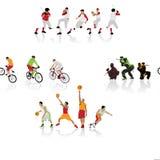 Silhouettes colorées de sport Images libres de droits
