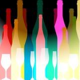 Silhouettes colorées des bouteilles Photos stock
