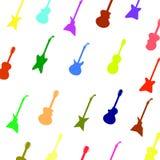 Silhouettes colorées réglées de différentes guitares illustration stock