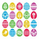 Silhouettes of color Easter eggs isolated on white background. Holiday Easter Eggs decorated with flowers and leafs. Print design. Label, sticker, scrap stock illustration