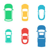 Silhouettes colored cars Stock Photos