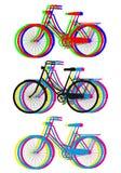 Silhouettes colorées de bicyclette, ensemble de vecteur Photos libres de droits