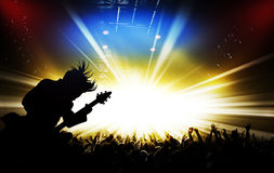 Silhouettes of concert and bright stage lights background Royalty Free Stock Photos