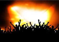 Silhouettes of concert crowd. And red stage Stock Photography