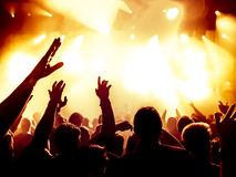 Silhouettes of concert crowd Royalty Free Stock Images