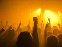Silhouettes of concert crowd Royalty Free Stock Photos